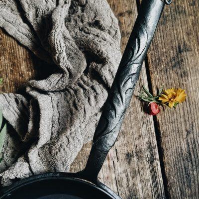 bleu forged skillet ornate handle